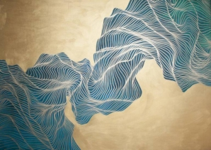 Abstract composition of fluid lines that creates a light blue abstract form over a golden background.