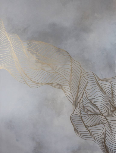 Abstract painting of fluid golden lines over a grey background.