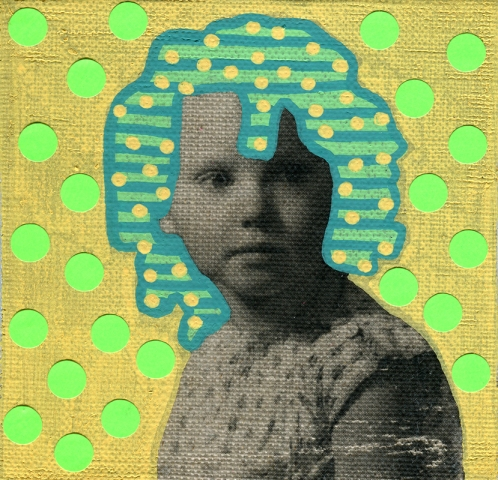 Photo transfer on canvas collage over a baby girl vintage photo decorated with stickers and pens.