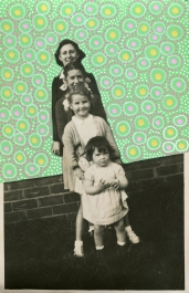 Collage over a vintage family photo of sisters decorated using posca pens.
