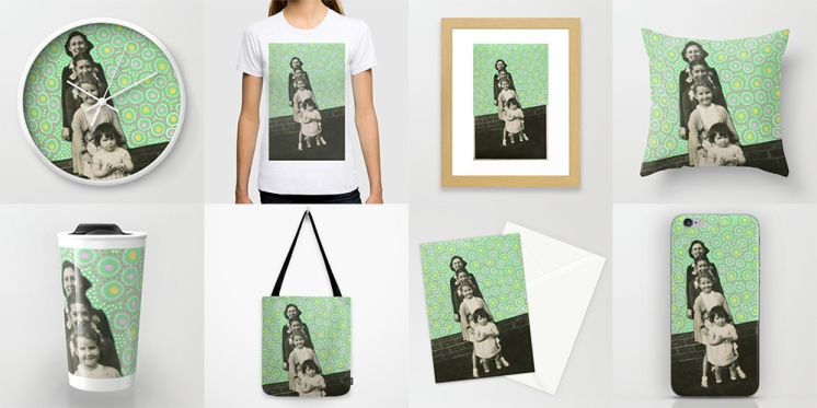 Photo collage of 8 art prints of my artworks available on Society6, wall clock, T-shirt, framed art print, throw pillow, travel mug, tote bag, stationery card and iphone skin.