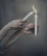 Painting of hands holding two candles.
