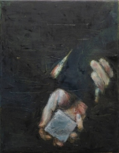 Painting of an hand holding the other hand that is holding a little cubic object.