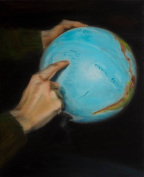 Painting of a pair of hands holding a globe.