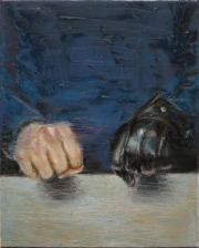 Paintings of two hands, one of them has a glove and they are making a fist gesture.