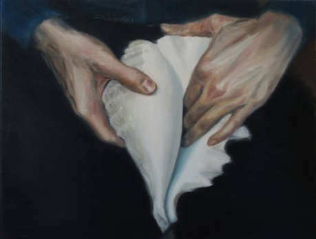 Painting of a pair of hands holding a giant shell.