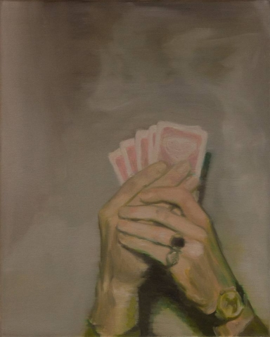Painting of a pair of hands holding playing cards.