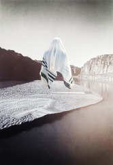 Collage of a body covered by a veil surrounded by a seascape.