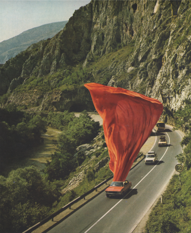 Collage of a street full of cars, one of them has a huge red textile coming out from it.