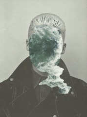 Collage of a faceless man with a portion of sea that covers his face.