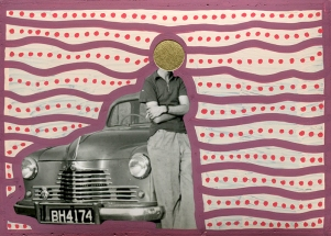 Collage over a found photo of a man and his car.