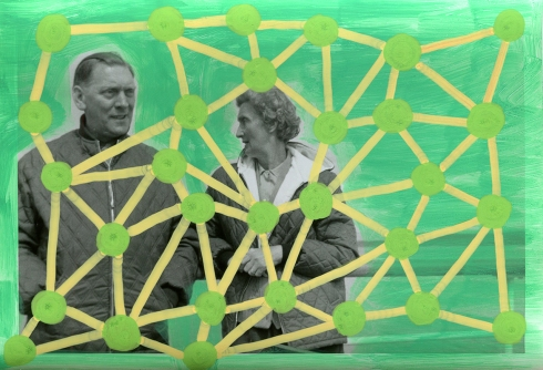 Handmade collage created over a vintage photo of a couple talking and decorated with green and yellow pens.