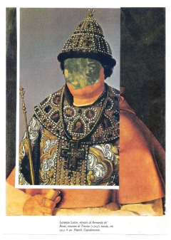 Collage of a defaced classic portrait painting.