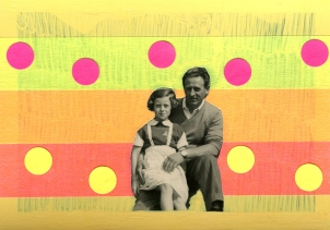 Father and daughter vintage photo decorated with neon materials.