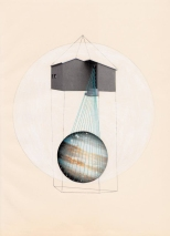 Collage on light brown paper of a house floating and a planet under it decorated with coloured yarns.