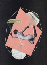 Collage of a naked woman floating into an abstract space and decorated with coloured yarns.