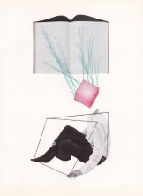 Collage of an headless body and an open book floating into an abstract space.