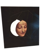 Collage of a female painting face floating into a dark abstract space.