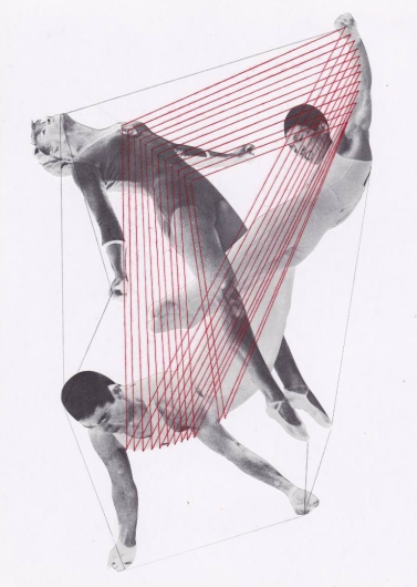 Collage of three gymnasts connected each other with red yarns.