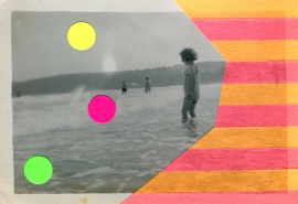 Collage over a vintage photo of a baby girl taking a swim at the sea.