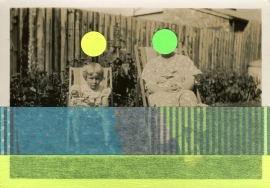 Collage over a retro portrait of a baby girl and her mother sat on two chairs.