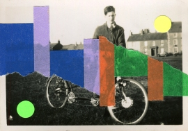 Collage on vintage photo of a young man riding a bicycle.