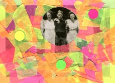 Collage over a group photo decorated with fluorescent washi tape.