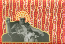 Handmade collage realised over a vintage photo of a woman smoking and altered with red, orange, white and yellow pens.