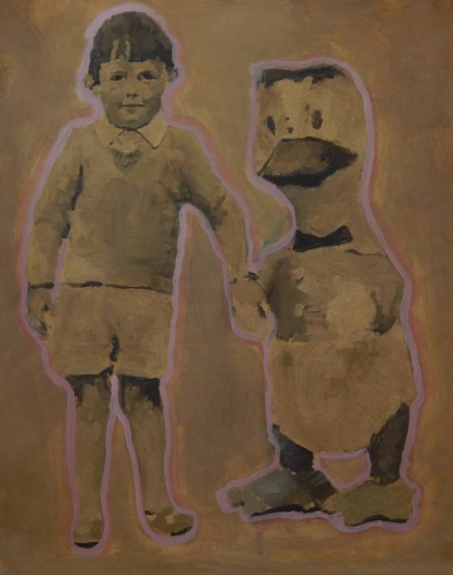 Painting of a little boy with a giant puppet duck.