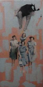 Paintings of a full body group of women.