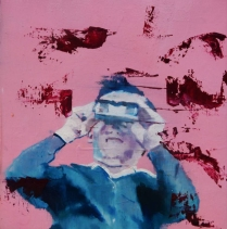 Portrait of a kid with binoculars.