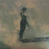 Paintings of a woman silhouette on a pool trampoline.