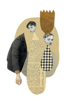 Dada style art collage on paper of two female heads floating in an abstract space and a portion of a female bust seen from profile.