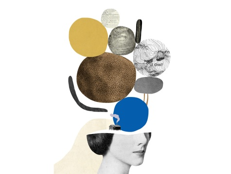 Collage of a defaced woman head with some circular paper elements floating over her.