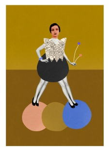Collage of a full body woman with two pair of legs walking over some circular coloured abstract elements.