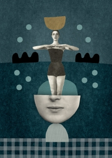 Collage of a woman with a swimsuit coming out from an half defaced female face.