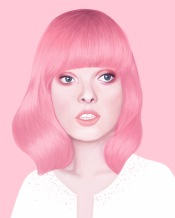 Frontal female portrait with pink hair.