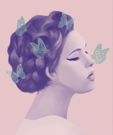 Profile of a female portrait with butterflies over her head.