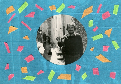 Handmade collage over a vintage 70's portait decorated with fluorescent washi tape mt.