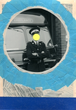 Handmade collage over a vintage picture of a man posing in front of an ambulance.