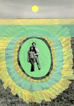 Handmade collage of a couple vintage photo decorated with pastel green and yellow washi tape.