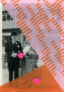 Handmade collage over a found old couple portrait altered with neon pink stickers and washi tape.
