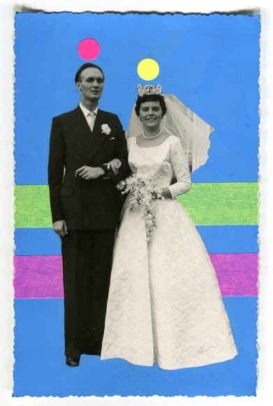 Handmade collage created over a classic vintage wedding photo with wife and husband.