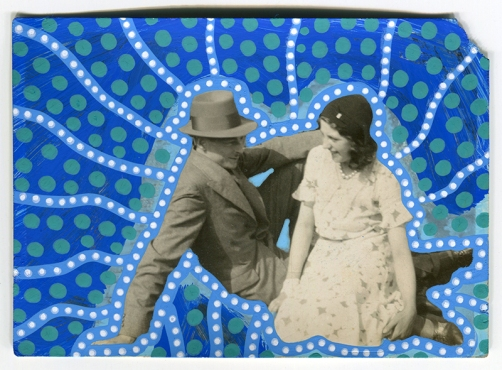 Collage over a found photo of a couple smiling to each other.