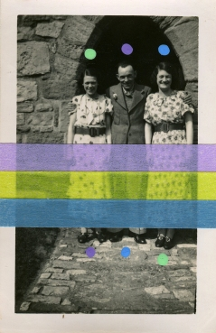 Collage over a found photo of a trio composed of two women and a man.