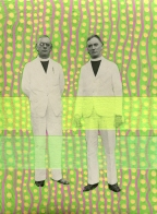 Modern collage on vintage photo of two men staring at the camera and decorated with neon yellow and green colours.