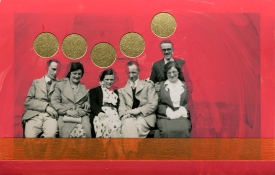 Collage over a found photo of a smiling group surrounded by a bright red colour.