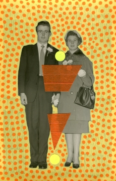 Handmade collage over a couple retro portrait photo decorated with pens and washi tape.