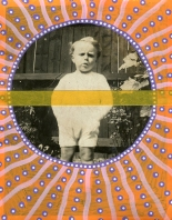 Collage on vintage photo of a baby boy staring at the camera and decorated with washi tape and pens.