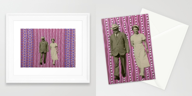 Collage of 2 art prints of an analogue collage realised over a vintage photo.